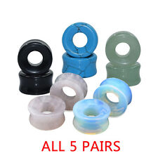 5 PAIRS-EAR GAUGES-ORGANIC HOOLOW STONE EAR TUNNELS PLUGS DOUBLE FLARED EARLETS