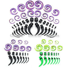 21 Pair Acrylic Horn Ear Taper Spiral Ear Tunnel Plugs Stretching Expander Gauge