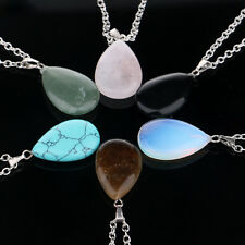 Natural quartz Crystal Gem Stone Chakra Point Healing Waterdrop Pendant Necklace