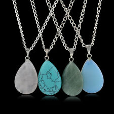 Waterdrop quartz Crystal Gem Natural Stone Chakra Point Healing Pendant Necklace