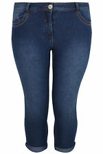 Yoursclothing Plus Size Womens Mid Denim Crop Jean With Stitch Detail