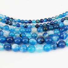 Hot 1Bunch Charm Blue Stripes Agate Round Loose Bead Pendant Necklace Jewelry