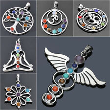 Chakra Healing Point Natural Reiki 7 Gemstone Beads Pendant For Necklace Gift