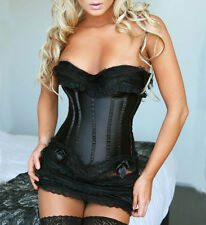 New Womens Black 2pcs Set Overbust Corsets Bustiers Lace Bowknot G-string 1Ft