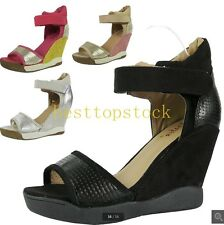 New Womens Faux Suede Open Toes Wedge High Heels Color Stitching  Shoes