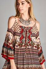 SEXY RED TAUPE FLORAL COLD SHOULDER AZTEC BOHO GYPSY BABYDOLL MINI DRESS S M L