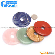 50mm Assorted Stone Donut Beads For Jewelry Making 1 Piece Thickness 5-9mm