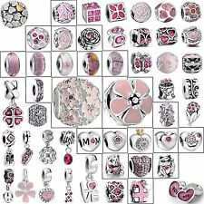 925 Silver Charms New Bead Cute Pink Fashion Jewelry Fit Brand European Bracelet