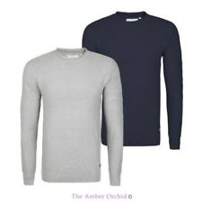 MENS NEW KNIT CHAMBRAY JUMPER ROLL NECK SWEATER JACQUARD RIBBED KNITTED PULLOVER