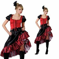 Saloon Girl Wild West Barmaid Showgirl Ladies Fancy Dress Costume Size 6 to 28