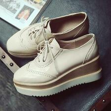 2016 Womens College Wedge Heels Platform Creeper Shoes Lace Up Wing Tip Pumps 06