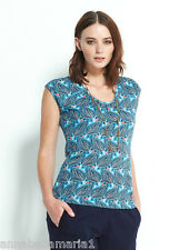 NOMADS fair trade ORGANIC COTTON hippy ETHNIC leaf PRINT T-SHIRT top TURQUOISE