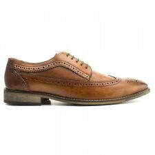 Base London DURHAM Mens Washed Leather Smart Casual Derby Brogue Shoes Tan Brown