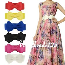 Stylish Women Sweet Bowknot Elastic Bow Wide Stretch Buckle Waistband Waist Belt