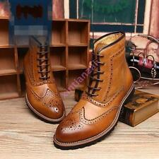 Retro Mens leather oxfords brogues leisure wing tip lace up wing tip boots shoes