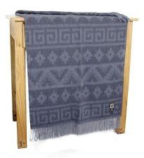 Blended Alpaca Merino Wool Woven Throw Blanket Ethnic Design With Fringe
