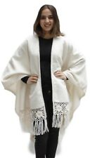 Womens Soft Alpaca Wool Cape Poncho Ruana Shawl Crochet Edge With Roses