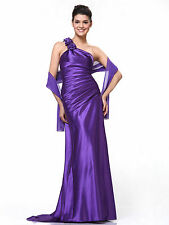 One Shoulder Evening Long Dress Bridesmaid Formal Satin Homecoming Party XS~3XL
