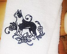 Boston Terrier Towels~ Embroidered Dog Hand Bath Towels & towel Sets ~Free ship