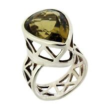 Faceted Lemon Quartz .925 Sterling Silver Ring Size 5.5 Jewelry Gemstone