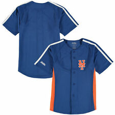 New York Mets Stitches Youth Chin Music Fashion Button Jersey - Royal - MLB