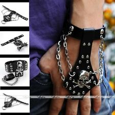 Mens Punk Rock Skull Hand Wrap Chain Genuine Cowhide Leather Bracelet Link Ring