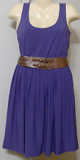 Calvin Klein Dress Size 6 New with Tags Grape Color Purple Brown Wide Belt