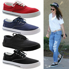 Ladies Women Girls Flat Lace Up Canvas Plimsolls Trainer Skater Pumps Shoes Size