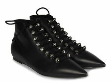 Balenciaga flat ankle boots lace-ups shoes in black Lambskin Made in Italy