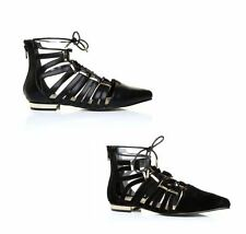New Womens Pointed Toe Lace Up Metal Trim Gladiator Sandals Shoes UK Size 3-8
