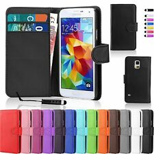 PU Leather Magnetic Flip Wallet Card Holder Case Cover For Samsung + Free Stylus