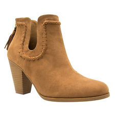 QUPID FB77 Women's Fashion U-Shaped Cut Out Tassel Cone Heel Ankle Booties