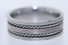 Stainless Steel 8mm Double Cable Inlay Band Ring