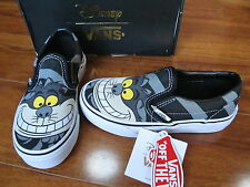 NEW VANS DISNEY Classic Slip On SHOES Girls Boys CHESHIRE CAT 11, 12, 1, 2, 3