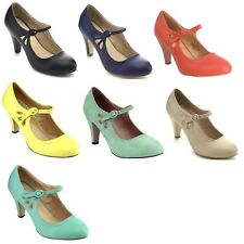 CHASE & CHLOE KIMMY-21 Women's Pierced Mid Heel Mary Jane Style Dress Pumps