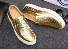 Stylish Mens studded punk flat round toe casual dress slip on loafer shoes A8971