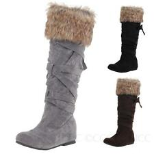 NEW Slimming Womens Slip on Flats Winter shoes Ladies Furry Strappy boots size
