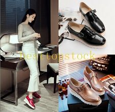 New Fashion Womens Wedge Heels Buckle Faux Patent Leather Platform Student Shoes