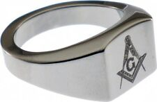 Mason Square & Compass Laser Etched Symbol Mens Ring