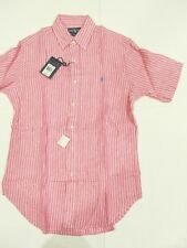 New tag Mens Ralph Lauren Pink White Short Sleeve Polo Linen Shirt S XXL Classic