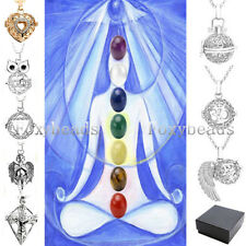 Natural 7 Chakra Gems Reiki Healing Bead with Hollow Locket Pendant Necklace Set