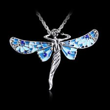 Fashion Retro Dragonfly Angel Tibetan Silver Crystal Pendant Chain Long Necklace