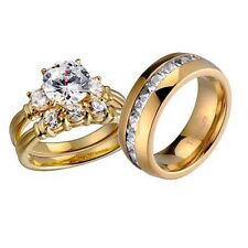 His Hers Wedding Ring Set 3 Stone Cubic Zirconia Gold Plate Silver Titanium Band