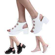 NEW WOMENS GIRLS KIDS CLEATED PLATFORM BLOCK HEEL LACE UP SANDAL SHOES SIZE 10-8