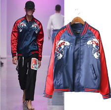 Couple Baseball Coat Animal Fish Letter Embroidery Pilots Bomber Jacket Unisex