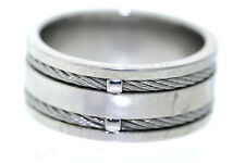 Stainless Steel 9.5mm Double Cable Inlay Band Ring