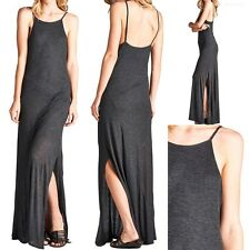 Spaghetti Strap Ribbed Full Length Maxi Dress with Side Slit Detail Casual S M L