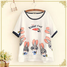 Japanese Sweet Mori Girl Preppy Style Loose Cute Print Short Sleeve T-Shirt Tops