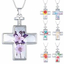 Cross Glass Flating Charms Locket Pendant Real Dried Pressed Flower Necklace