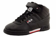 Fila Boy's F-13 Black/White/Red Leather Mid-Top Basketball Sneakers Shoes
